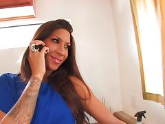 Kayla bites her lower lips as she strains to weather a massive tool drilling her hole