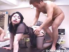 Lingerie clad Asian pornstars enjoy a sensuous groupsex shoot