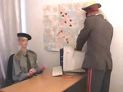 Military officers fucks his sexy secretary on her desk