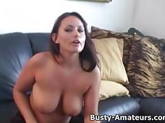 Busty Leslie masturbates after an interview