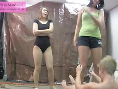 evil NOT siblings 2 ballbusting ballerina leotard pantyhose
