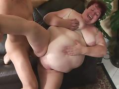 Fat old woman sucking and fucking a masculine fit guy