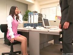 Fabulous Japanese secretary needs to suck cock and fuck at the office