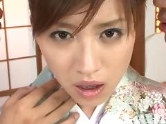 Jizz loving Japanese slut takes a load of cum on her face