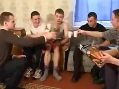 young Russian woman in gangbang