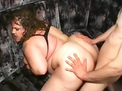 BBW fucked in the ass screams like a pig