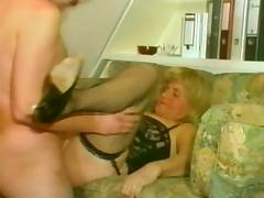 Shaved and pierced Russian mature bitch likes kinky sex