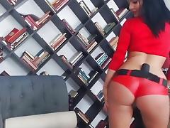 Hawt Dark Brown TEASES on web camera wearing RED