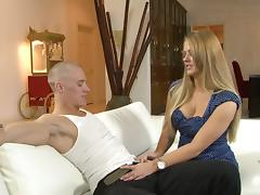 A big busty mature lade enjoying a wild dick ride while watched by her lady friend