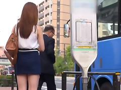 Skirt wearing Japanese babes fuck men left and right