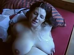 Big boobed amateur receives a thick facial