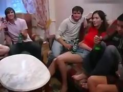Pretty brunette hair in Russian Students party