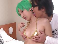 Japanese beauty with small tits cosplaying and having kinky sex