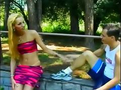 Stuffing A Blonde TS Hooker Outdoors
