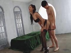 Stocking-clad Asian babe with big gorgeous tits enjoying a hardcore vibrator fuck