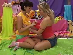 Busty lesbian teen with a pierced pussy enjoying a hardcore dildo fuck