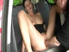 MILF fisted in the car