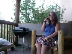 Mature couple has sex on the veranda