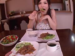 Anri Okita eats some food then takes it from behind