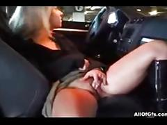Masturbation with dildo toy in the car