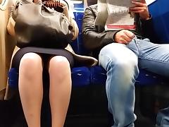British, British, Skirt, Train, Upskirt, Voyeur