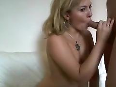 Blonde moaning usa girl oral, cowgirl, masturbation and doggystyle sex on the sofa.