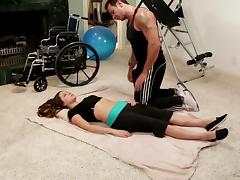 A handicapped girl fucked hard and wild by her physio