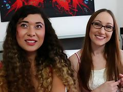 Nerdy girl in glasses gives oral sex to her lesbian girlfriend