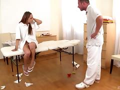 Submissive bitch gets a rough ass spanking and a facial cumshot