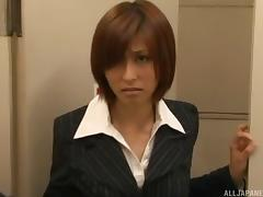 Japanese businesswoman sucks two dudes in the toilet and gets facials