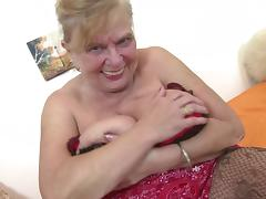 Busty natural grandma with very thirsty vagina