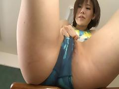 He binds her tits with rope before fucking her hairy hole