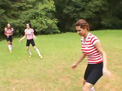 Super horny trannies playing soccer gangbang the male referee hardcore in a close up shoot