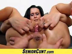 Old with young pussy stretching games with hot milf Nora