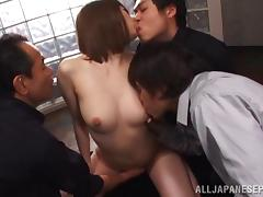 Three men and a naked Japanese hottie have a gangbang