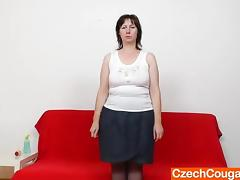 Mature European bitch in stockings dildoes her aching hairy cunt