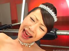 Japanese bride gets her pussy rocked by different fuck machines