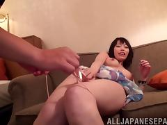 Pretty flower dress on a sexy Japanese girl taking dick