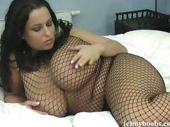 Horny chubby in a fishnet attire caresses her body to strong orgasm afterwards