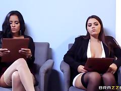 Abby and Valentina get fucked then share his hot load