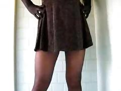 Crossdresser in black pantyhose jerking