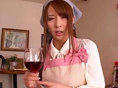 Giddy Japanese maid seduces then fucks her horny boss hardcore