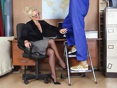 Office, Big Cock, Blonde, Blowjob, Horny, Monster Cock
