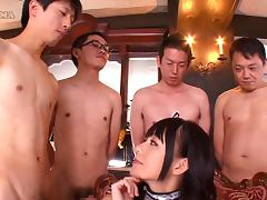 Four different guys fuck Marie Konishi's soft mouth