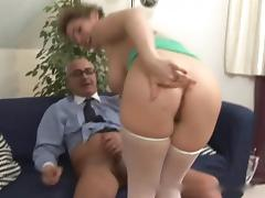 Old man and busty hairy girl