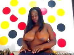 Chubby ebony babe teasing on webcam