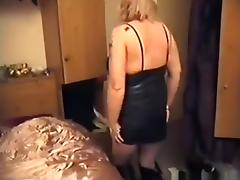 Blonde mature woman sucks cock, gets fingered, doggystyle fucked and creampied