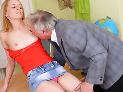 TrickyOldTeacher - Hot blonde student gives teacher blowjob and fucking to better grade