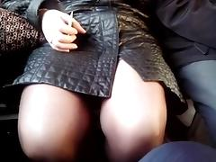 Flashing, Blonde, Flashing, Legs, Sex, Train