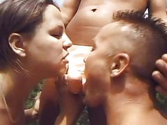 Threesome bisexual hole fucking outdoors